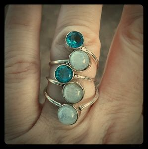 New Moonstone and Blue Quartz Silver Ring. Size 7
